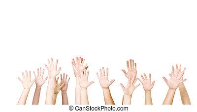 ar, grupo, mãos