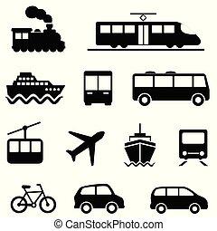 ar, mar, terra, e, transporte público, ícones
