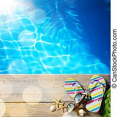 ar, plaża, summer;, plaża, przybory