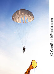 ar., quedas, fun!, skydiver, através, parachuting