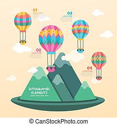 ar quente, desenho, balloon, infographics