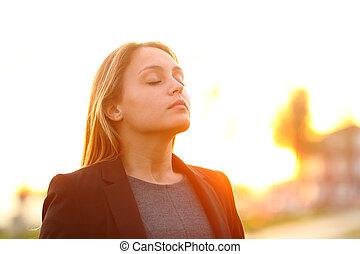 ar, respirar, ao ar livre, executiva, fresco, pôr do sol