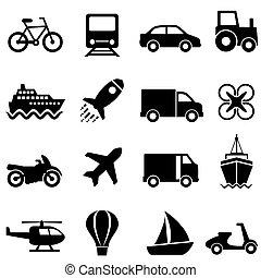 ar, transporte, terra, água, jogo, ícone