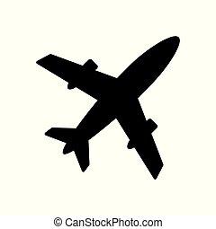 ar, vetorial, avião, ícone
