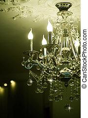 araña de luces, cristales, clásico