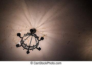 araña de luces, tiro, bajo, iluminación, ángulo