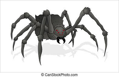 araña, ilustración, horrible