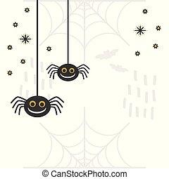 arañas, ahorcadura, negro, lindo, blanco, fondo dorado, ...