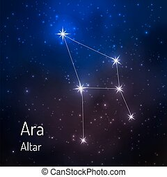 Ara Altar constellation in the night starry sky. Vector illustration