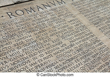Rome, Italy. Latin inscriptions outside famous monument - Ara Pacis.