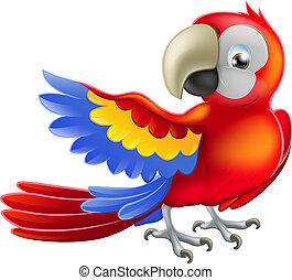 ara, papegoja, illustration, röd