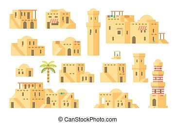 arab, épület, sár, tervezés, lakás