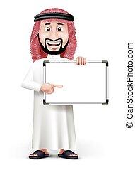 arab, 3d, człowiek, saudi, przystojny