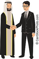 Arab and European businessmen shaking hands. Business meeting with Arab partners. Vector illustration, isolated on white.