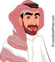 arab - Arab, muslim, in keffiyeh and traditional clothing, ...