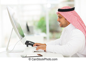 arab, biznesmen, komputer, pracujący