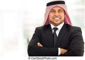 arab, biznesmen, z, herb krzyżował