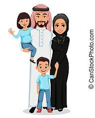 arab, boldog, fiú, anya, family., atya, lány