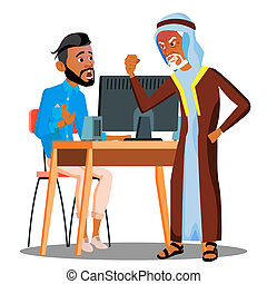 Arab Boss Screaming At Scared Empolyee Vector. Isolated Illustration