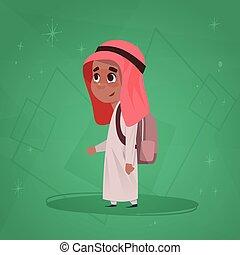 Arab Boy School Pupil Holding Backpack Small Cartoon Muslim Male Student