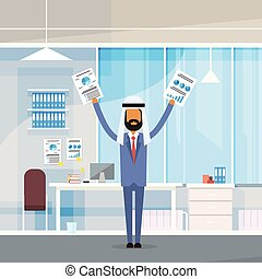 Arab Business Man Hold Hands Up Raised Arms With Paper Documents, Muslim Businessman Modern Office
