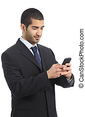 Arab business man working using a mobile phone