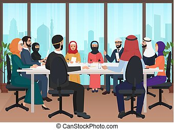 Arab business people discussing meeting modern office desk. Muslim conference flat cartoon vector Illustration.