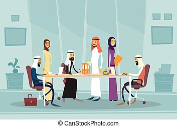 Arab Business People Meeting Discussing Office Desk Muslim...