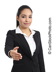 Arab business woman ready to handshake isolated on a white background
