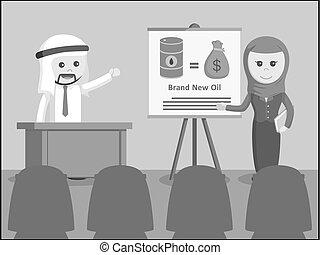 arab businessman and arab businesswoman giving presentation