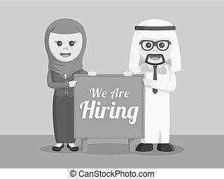 arab businessman and arab businesswoman with hiring board black and white color style