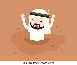 Arab Businessman asking for help because he was trapped in quicksand like mud, flat design