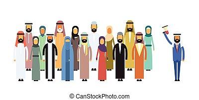 Arab Businessman Boss Hold Megaphone Loudspeaker Arabic Colleagues Muslim Business People Team Group