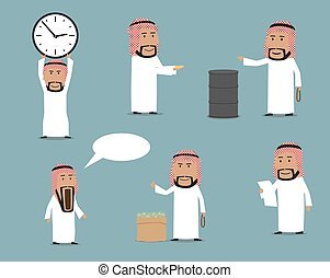 Arab businessman cartoon characters