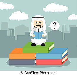 arab businessman confused while reading a book