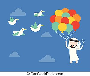 Arab Businessman flying with balloon in sky, afraid birds poke his balloon, risk management concept
