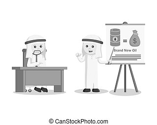arab businessman giving presentation about brand new oil black and white color style