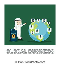 Arab businessman global business photo text style