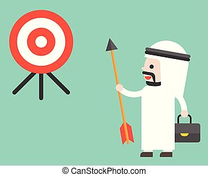Arab Businessman holding arrow and look at target determined to reach his goal, flat design vector