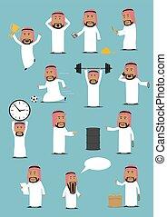 Arab businessman in national clothes cartoon set