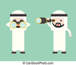 Arab Businessman or manager with binoculars and monocular ...