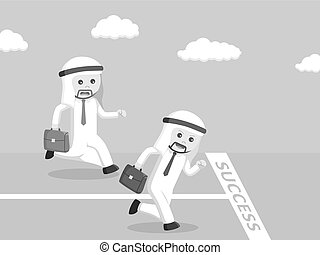arab businessman racing to the success line black and white color style