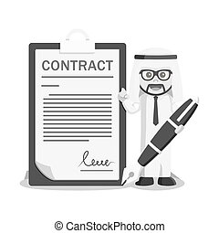 arab businessman sign contract letter black and white color style