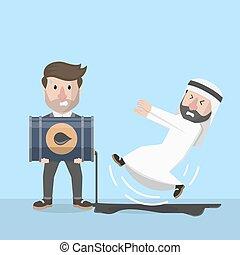 arab businessman slipping by oil fo