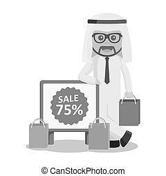 arab businessman standing beside discount sign black and white color style