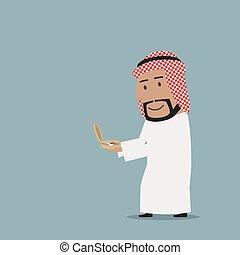 Arab businessman stepping onto compass to success