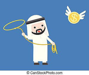 Arab Businessman using lasso noose catching flying gold coin