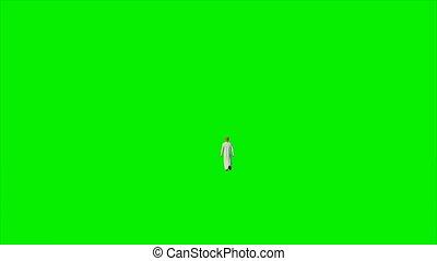 Arab businessman walking walking against green screen, Luma...