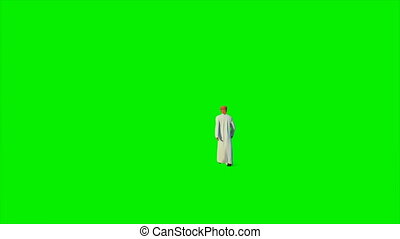 Arab businessman walking walking against Green Screen