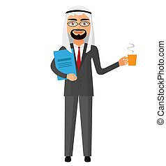 Arab businessman with a cup of tea and teapot vector flat cartoon illustration.